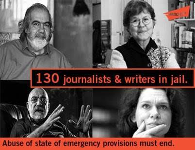 Grafik om 130 fængslede forfattere